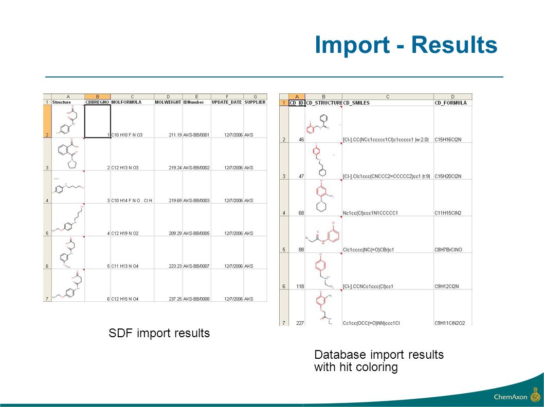 Import - Results SDF import results Database import results with hit coloring