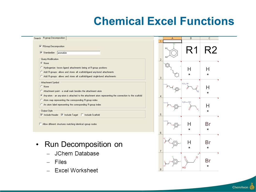 Chemical Excel Functions Values are calculated from: –SMILES, SMARTS, IUPAC Name strings –Structure cells – structures resulting from imports, edit, or other functions –Marvin OLE Object (future) Function results are automatically updated when structures edited or added Example Excel expression for Lipinskis Rule of 5 (3 of 4): (JCMass(A2) =3