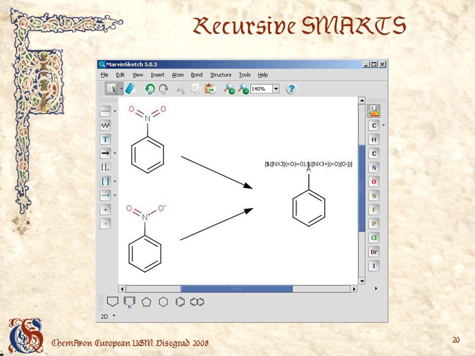 ChemAxon European UGM Visegrad 2008 20 Recursive SMARTS