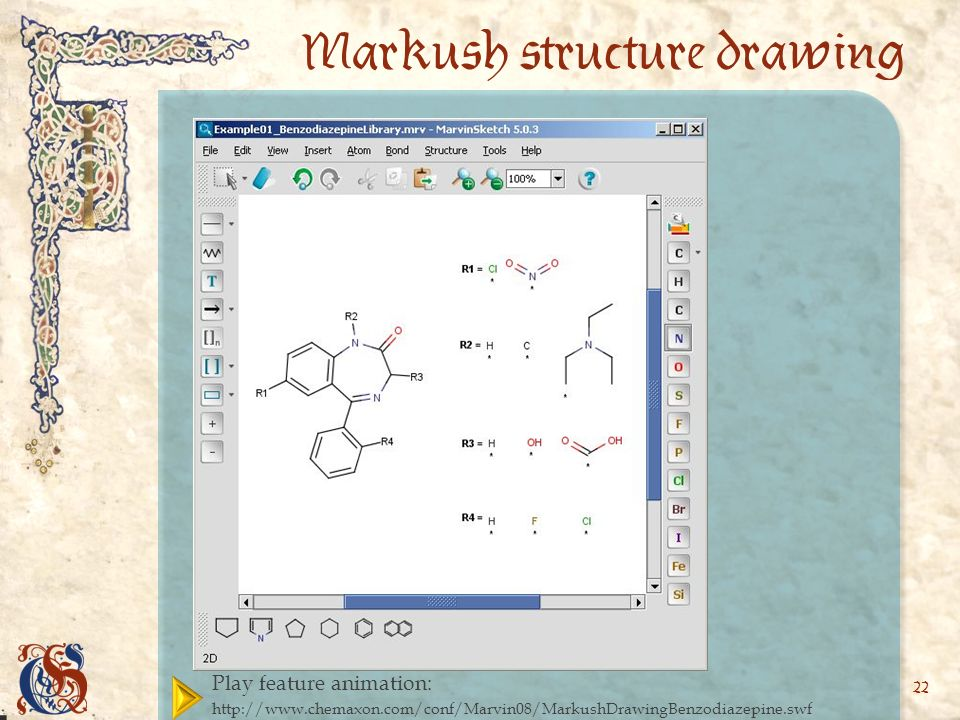 22 Markush structure drawing Play feature animation: