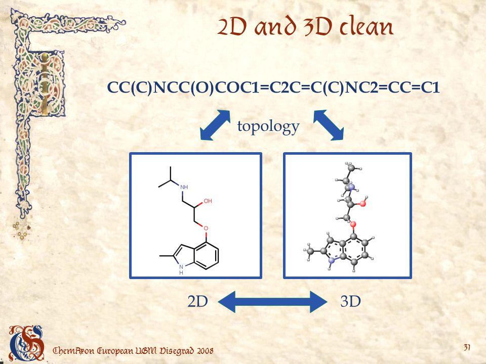 ChemAxon European UGM Visegrad 2008 31 2D and 3D clean CC(C)NCC(O)COC1=C2C=C(C)NC2=CC=C1 topology 2D3D