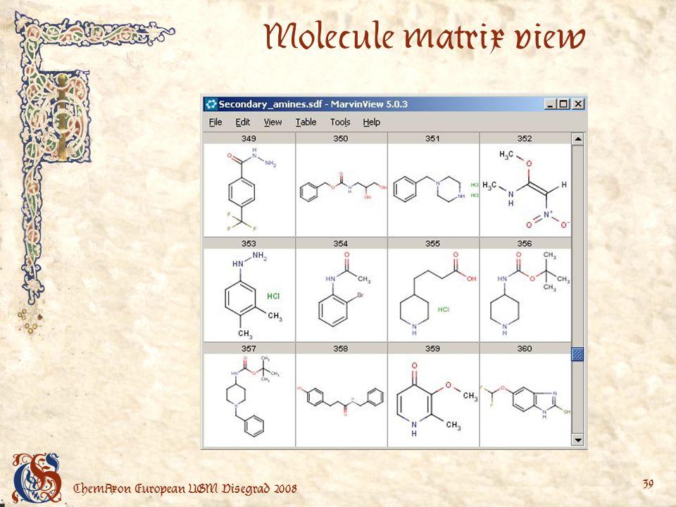 ChemAxon European UGM Visegrad 2008 39 Molecule matrix view