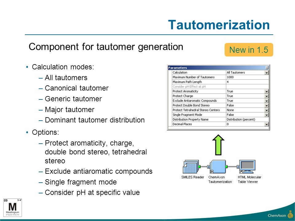 Tautomerization Component for tautomer generation New in 1.5 Calculation modes: –All tautomers –Canonical tautomer –Generic tautomer –Major tautomer –Dominant tautomer distribution Options: –Protect aromaticity, charge, double bond stereo, tetrahedral stereo –Exclude antiaromatic compounds –Single fragment mode –Consider pH at specific value