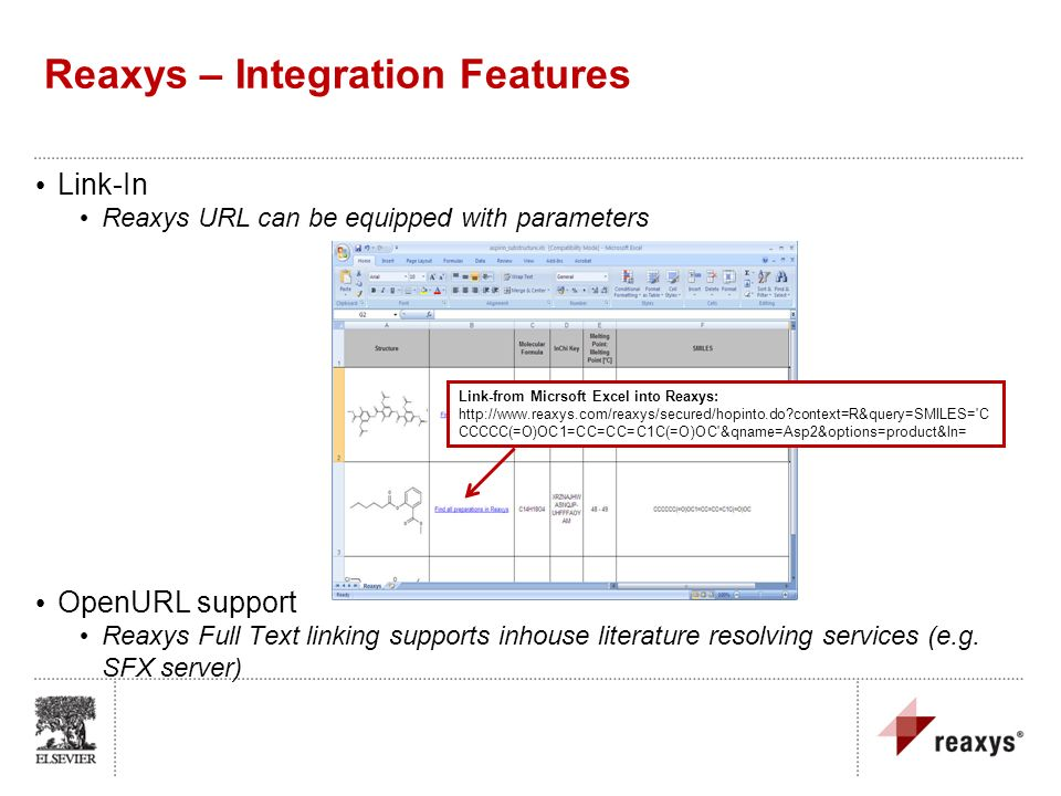 Link-In Reaxys URL can be equipped with parameters OpenURL support Reaxys Full Text linking supports inhouse literature resolving services (e.g. SFX s