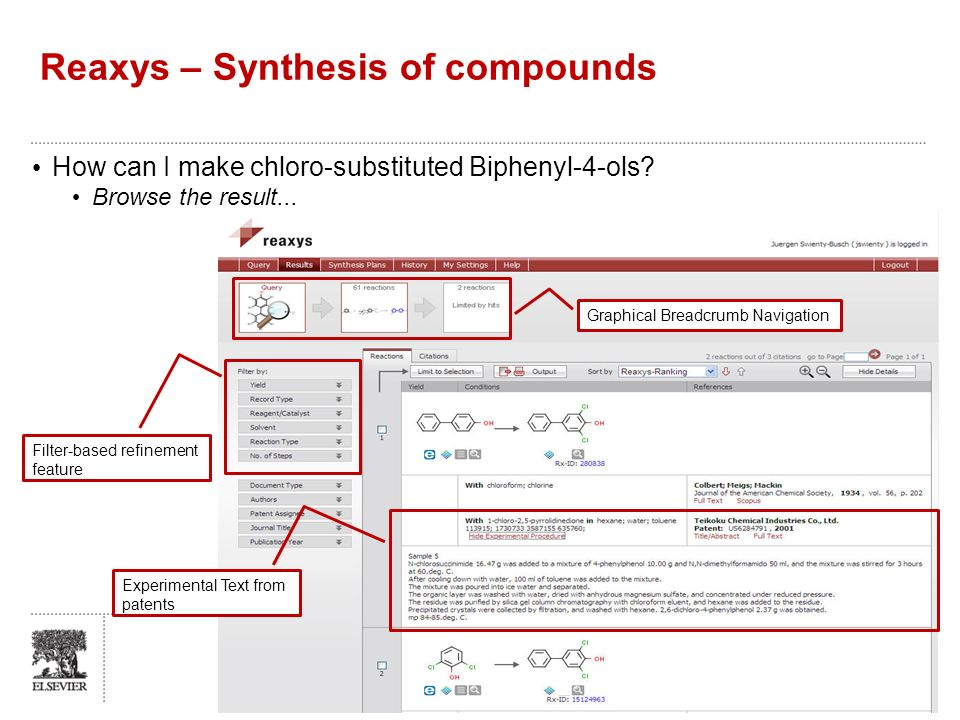Reaxys – Synthesis of compounds How can I make chloro-substituted Biphenyl-4-ols? Browse the result... 5 Graphical Breadcrumb Navigation Experimental