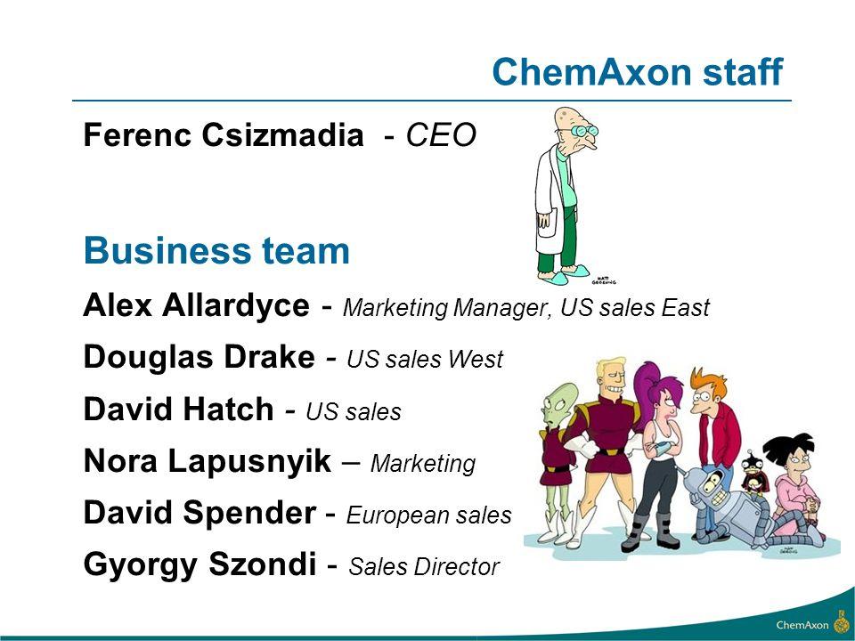 ChemAxon staff Ferenc Csizmadia - CEO Business team Alex Allardyce - Marketing Manager, US sales East Douglas Drake - US sales West David Hatch - US s