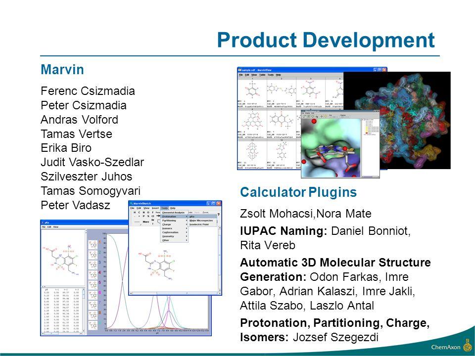 Product Development Calculator Plugins Zsolt Mohacsi,Nora Mate IUPAC Naming: Daniel Bonniot, Rita Vereb Automatic 3D Molecular Structure Generation: O