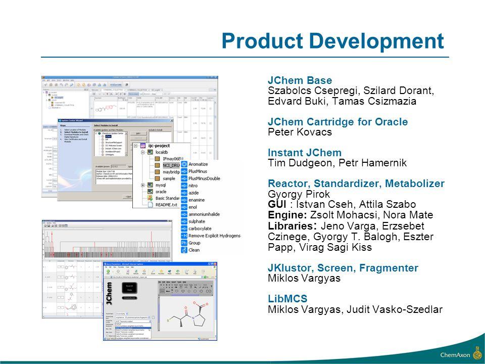 Product Development JChem Base Szabolcs Csepregi, Szilard Dorant, Edvard Buki, Tamas Csizmazia JChem Cartridge for Oracle Peter Kovacs Instant JChem T