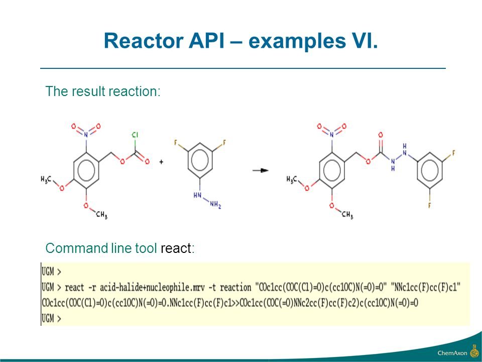 Reactor API – examples VI. The result reaction: Command line tool react: