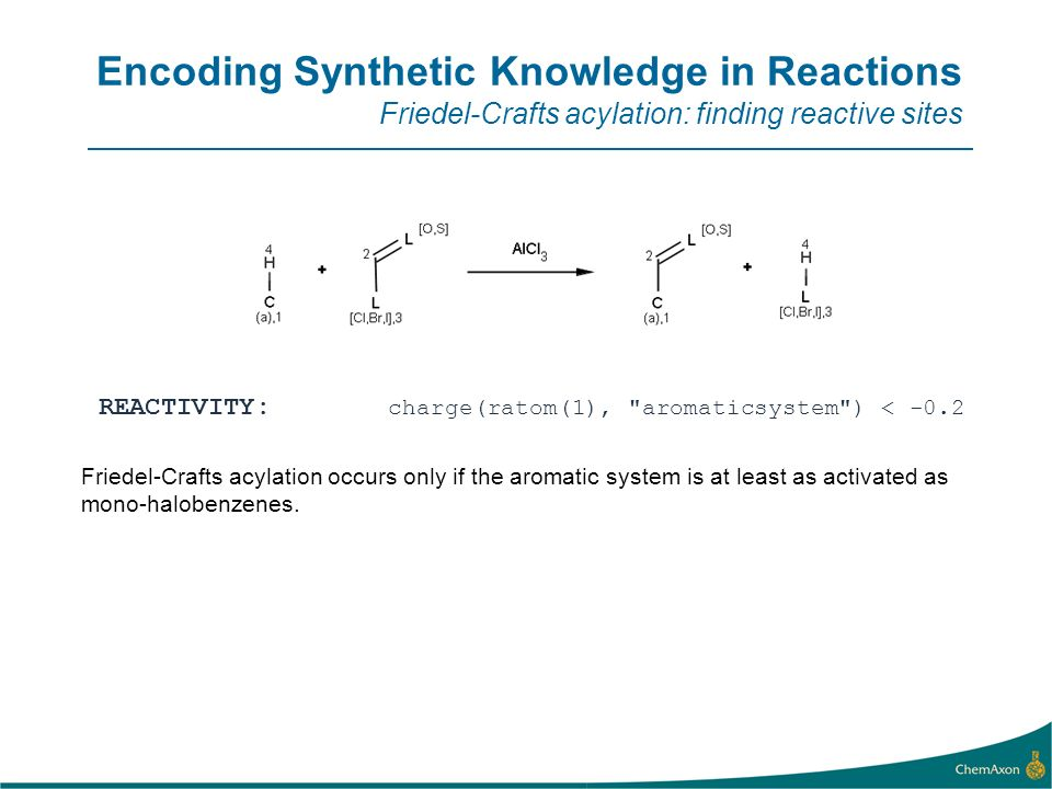 Encoding Synthetic Knowledge in Reactions Friedel-Crafts acylation: finding reactive sites REACTIVITY: charge(ratom(1), aromaticsystem ) < -0.2 Friedel-Crafts acylation occurs only if the aromatic system is at least as activated as mono-halobenzenes.