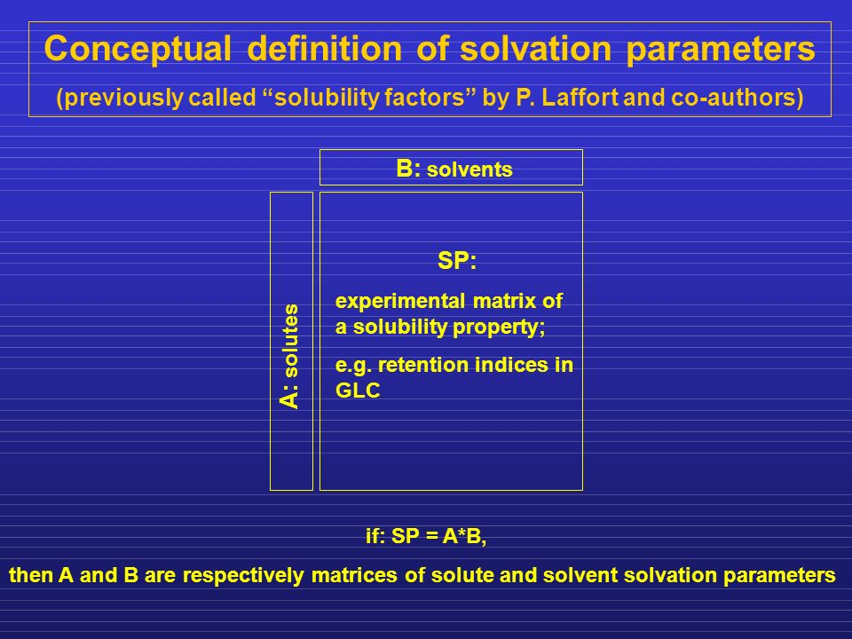 Conceptual definition of solvation parameters (previously called solubility factors by P. Laffort and co-authors) B: solvents A: solutes SP: experimen