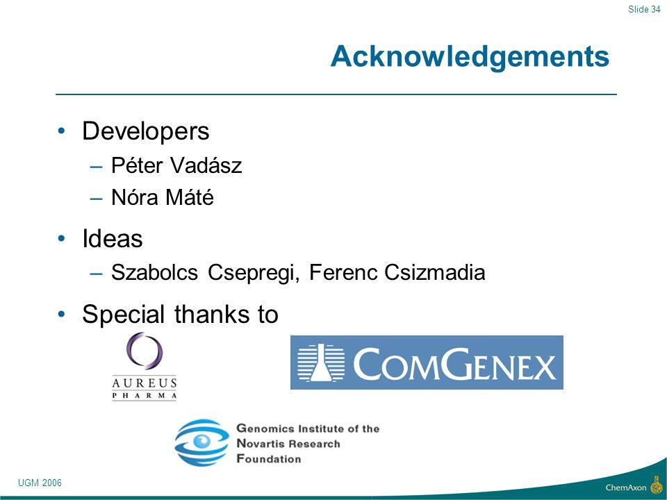 UGM 2006 Slide 34 Acknowledgements Developers –Péter Vadász –Nóra Máté Ideas –Szabolcs Csepregi, Ferenc Csizmadia Special thanks to