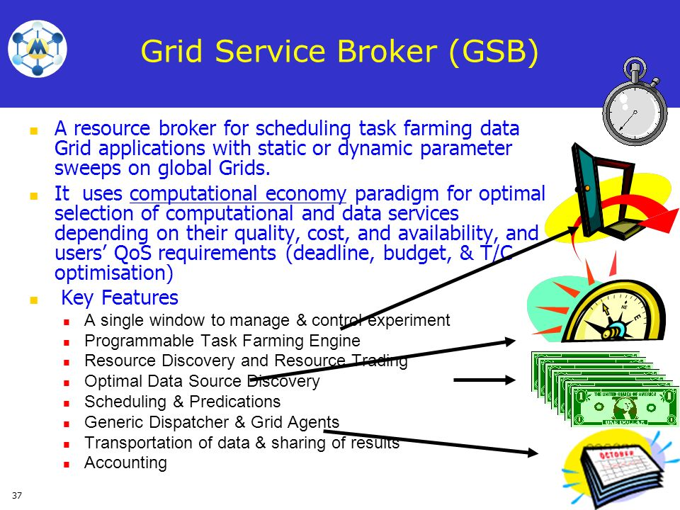 37 A resource broker for scheduling task farming data Grid applications with static or dynamic parameter sweeps on global Grids. It uses computational