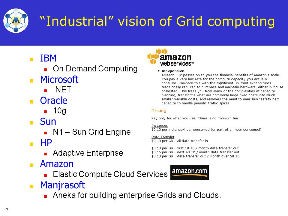 7 Industrial vision of Grid computing IBM On Demand Computing Microsoft.NET Oracle 10g Sun N1 – Sun Grid Engine HP Adaptive Enterprise Amazon Elastic