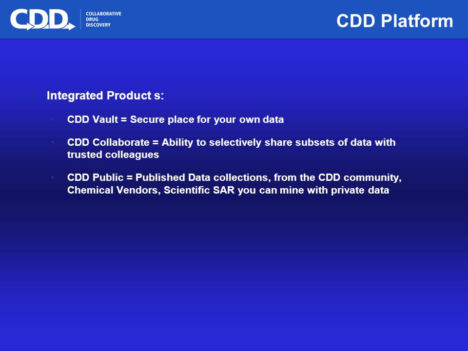 Archive, Mine, Collaborate© 2009 Collaborative Drug Discovery, Inc. CDD Platform Integrated Product s: CDD Vault = Secure place for your own data CDD