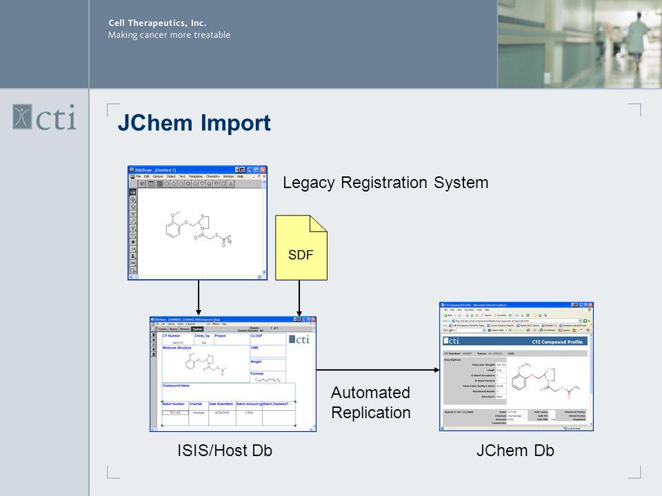 JChem Import Automated Replication ISIS/Host DbJChem Db Legacy Registration System