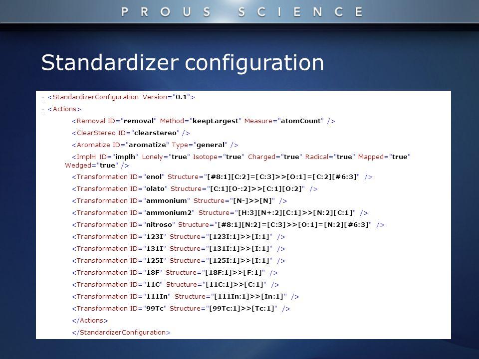 - >[O:1]=[C:2][#6:3] /> >[C:1][O:2] /> >[N] /> >[N:2][C:1] /> >[O:1]=[N:2][#6:3] /> >[I:1] /> >[F:1] /> >[C:1] /> >[In:1] /> >[Tc:1] /> Standardizer configuration