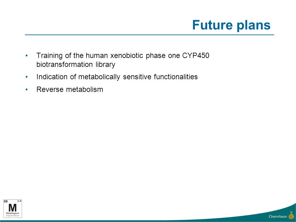 Future plans Training of the human xenobiotic phase one CYP450 biotransformation library Indication of metabolically sensitive functionalities Reverse metabolism