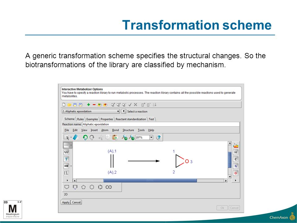 Transformation rules The generic scheme can be applied specifically to the given substrate with the help of rules written in the form of Chemical Terms.