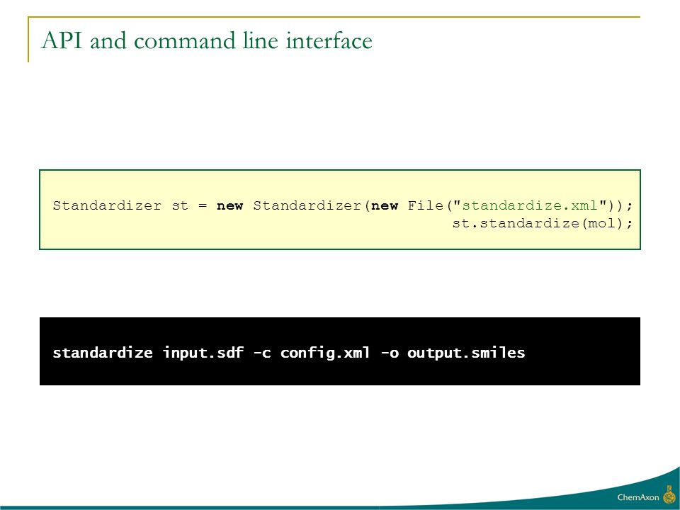 API and command line interface Standardizer st = new Standardizer(new File(