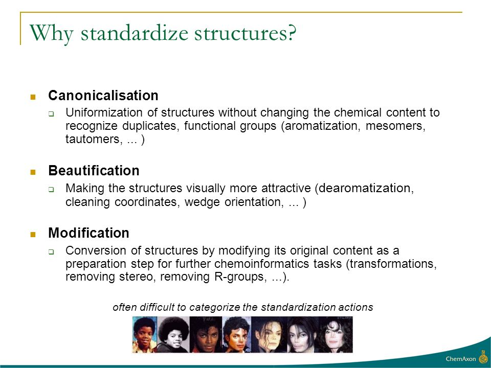 Why standardize structures? Canonicalisation Uniformization of structures without changing the chemical content to recognize duplicates, functional gr