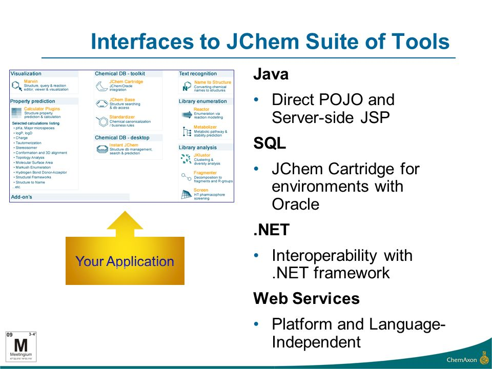 Interfaces to JChem Suite of Tools Java Direct POJO and Server-side JSP SQL JChem Cartridge for environments with Oracle.NET Interoperability with.NET framework Web Services Platform and Language- Independent