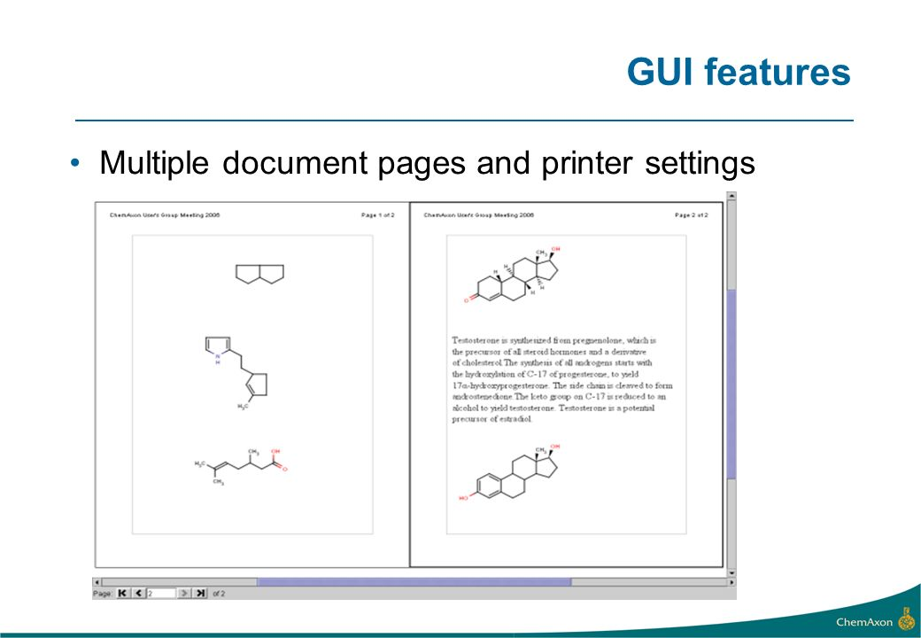 GUI features Multiple document pages and printer settings