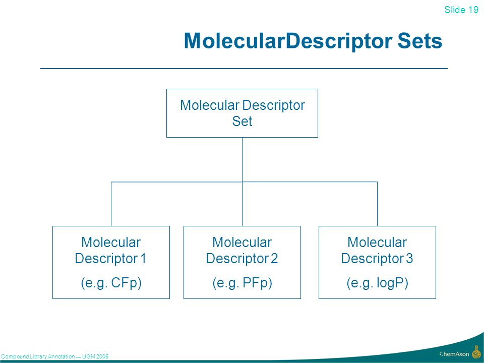 Slide 19 Compound Library Annotation UGM 2005 19 MolecularDescriptor Sets Molecular Descriptor Set Molecular Descriptor 1 (e.g. CFp) Molecular Descrip