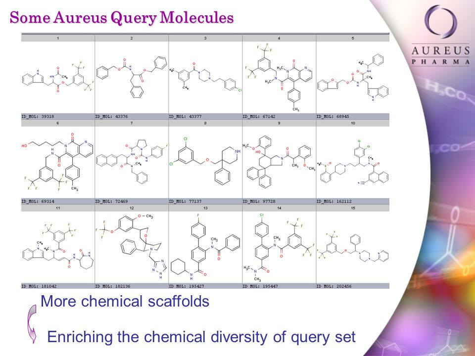 Some Aureus Query Molecules More chemical scaffolds Enriching the chemical diversity of query set