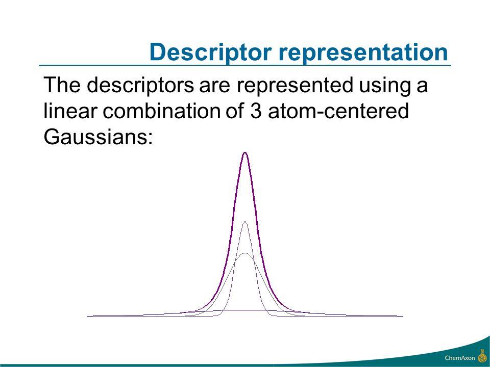 Descriptor representation The descriptors are represented using a linear combination of 3 atom-centered Gaussians: