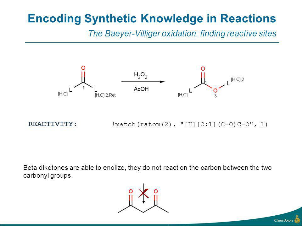 Encoding Synthetic Knowledge in Reactions The Baeyer-Villiger oxidation: finding reactive sites REACTIVITY: !match(ratom(2), [H][C:1](C=O)C=O , 1) Beta diketones are able to enolize, they do not react on the carbon between the two carbonyl groups.