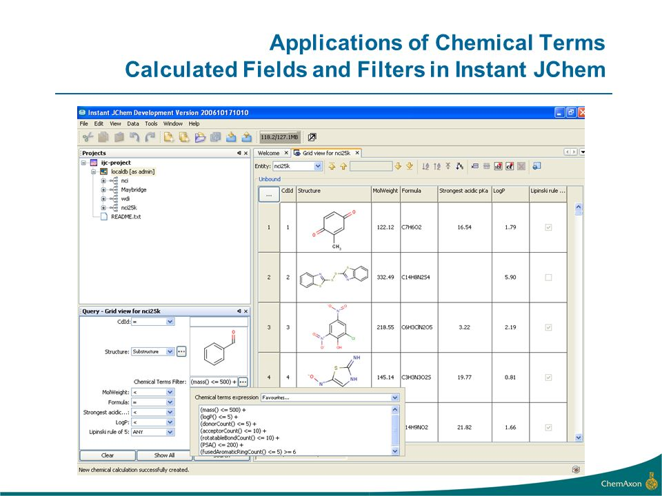 Applications of Chemical Terms Calculated Fields and Filters in Instant JChem
