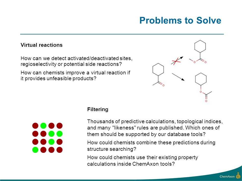 Problems to Solve Filtering Thousands of predictive calculations, topological indices, and many