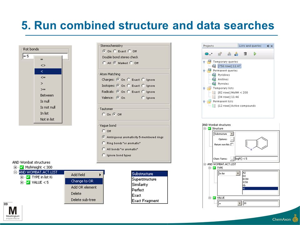 5. Run combined structure and data searches