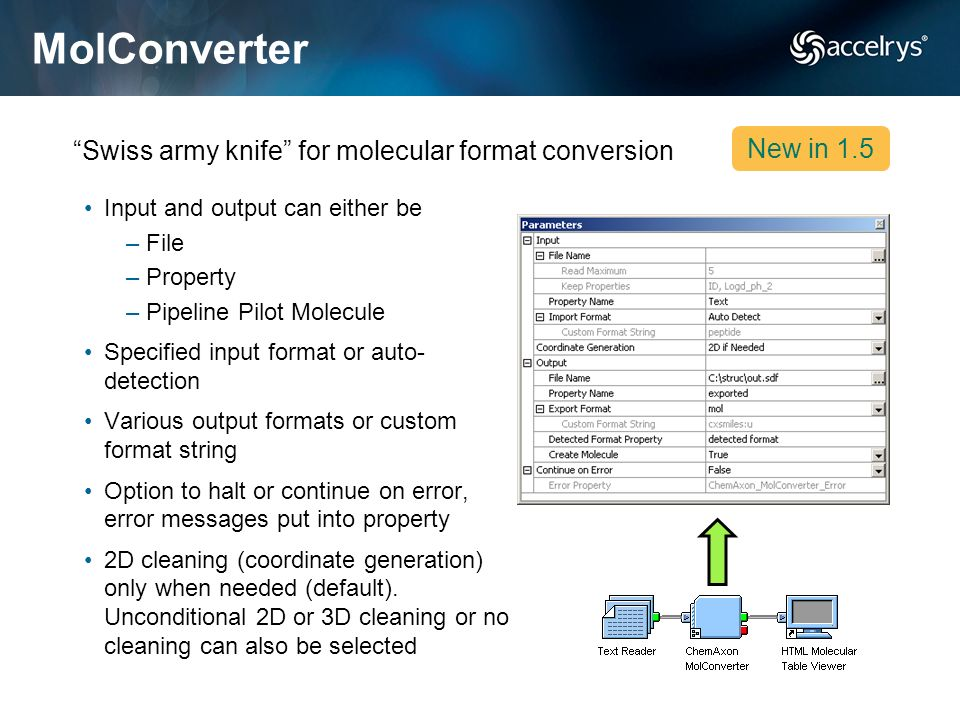 MolConverter Swiss army knife for molecular format conversion New in 1.5 Input and output can either be –File –Property –Pipeline Pilot Molecule Speci
