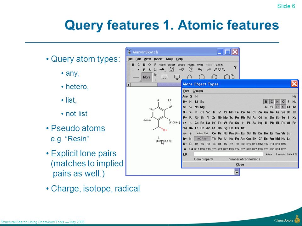 Slide 6 Structural Search Using ChemAxon Tools May 2005 6 Query features 1.