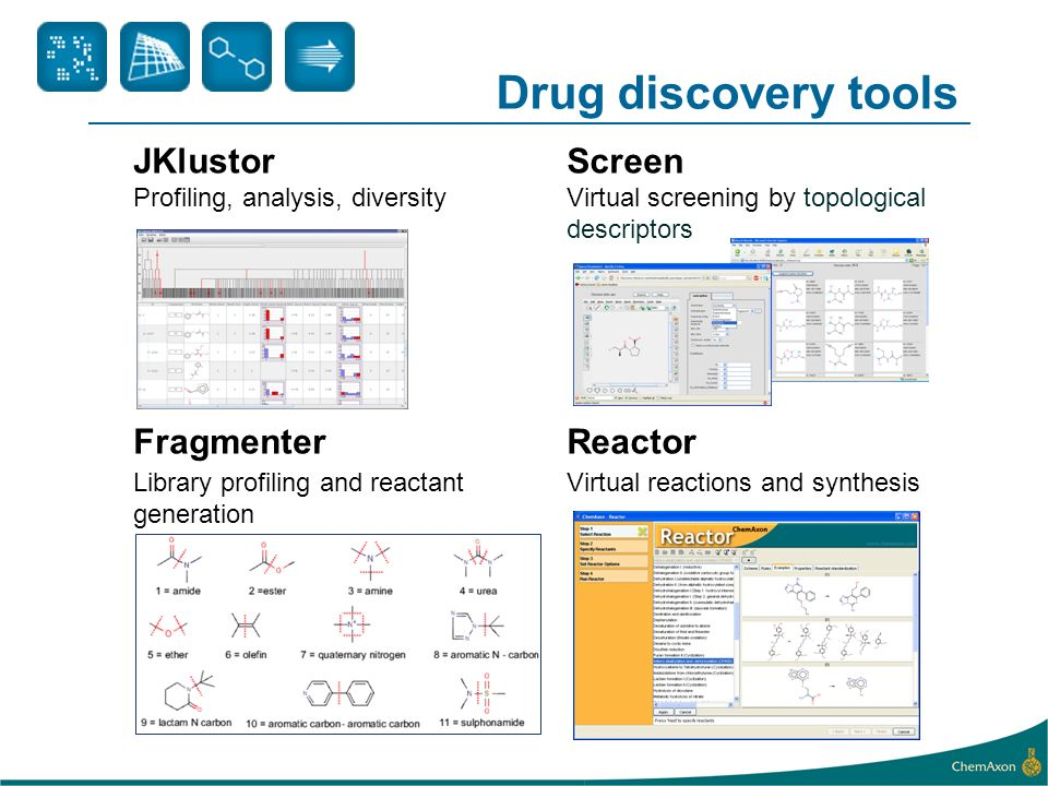 Drug discovery tools JKlustorScreen Profiling, analysis, diversityVirtual screening by topological descriptors FragmenterReactor Library profiling and