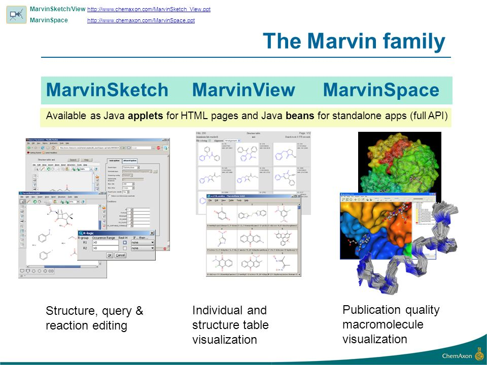 Marvin Development History 1998 Applets, Molfiles, stereo support, Windows, Unix SMILES, SMARTS, PDB, Rgroups, isotopes, shortcuts, Marvin Beans Ball and stick JPG, PNG, SVG, Cut&Paste with Isis/ChemDraw, 2D cleaning, (de)aromatization, reaction drawing 20001999 SDF, RDF, XYZ animations, CML, templates, compressed formats, Swing, 3D models 2001 Mac support, signed applets, Java Web Start, atom mapping Partial charge, pK a, logP/logD, 3D optimization, radicals, abbreviated groups Marvin file format, enhanced stereo, shapes, text boxes, multiple groups, link nodes, TPSA, recursive SMARTS, Donor/Acceptor, electron arrows, 2004 2003 2005 Tautomers, resonance, lone pairs, conformers, 3D sketching, MarvinSpace, Topology analysis, presentation quality graphics,...
