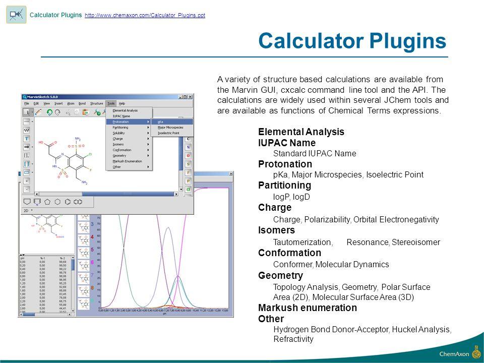 Calculator Plugins Calculator Plugins http://www.chemaxon.com/Calculator_Plugins.ppt http://www.chemaxon.com/Calculator_Plugins.ppt Elemental Analysis