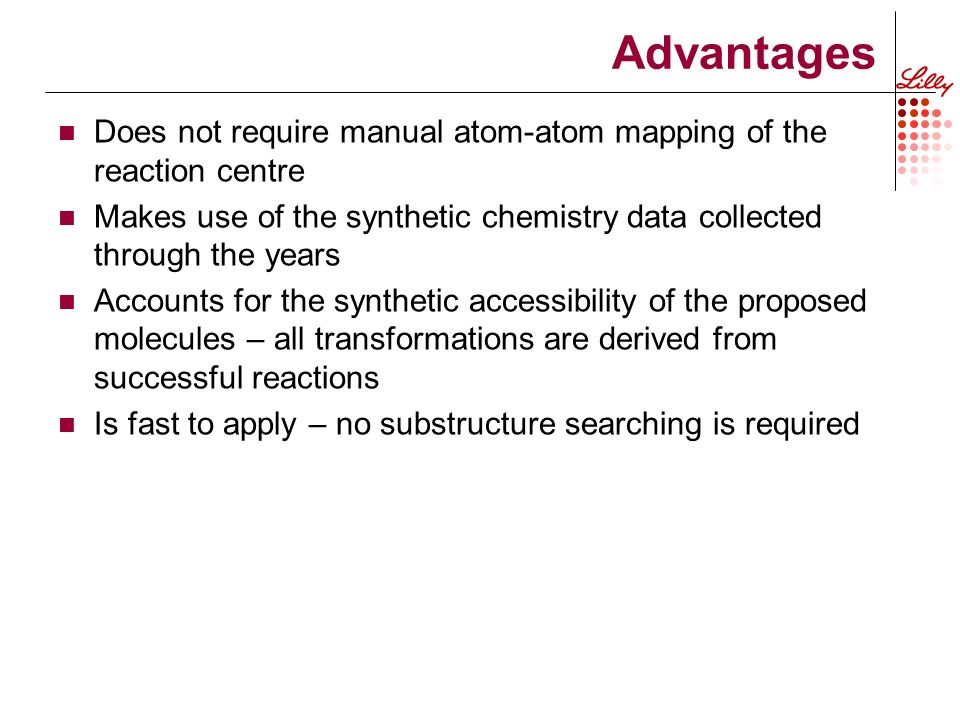Advantages Does not require manual atom-atom mapping of the reaction centre Makes use of the synthetic chemistry data collected through the years Accounts for the synthetic accessibility of the proposed molecules – all transformations are derived from successful reactions Is fast to apply – no substructure searching is required