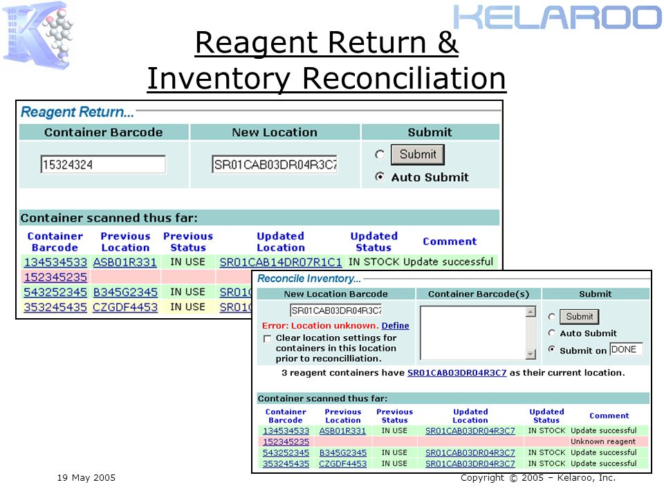 19 May 2005Copyright © 2005 – Kelaroo, Inc. Reagent Return & Inventory Reconciliation