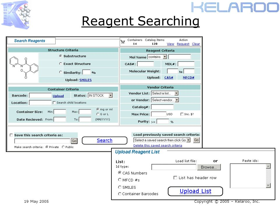 19 May 2005Copyright © 2005 – Kelaroo, Inc. Reagent Searching