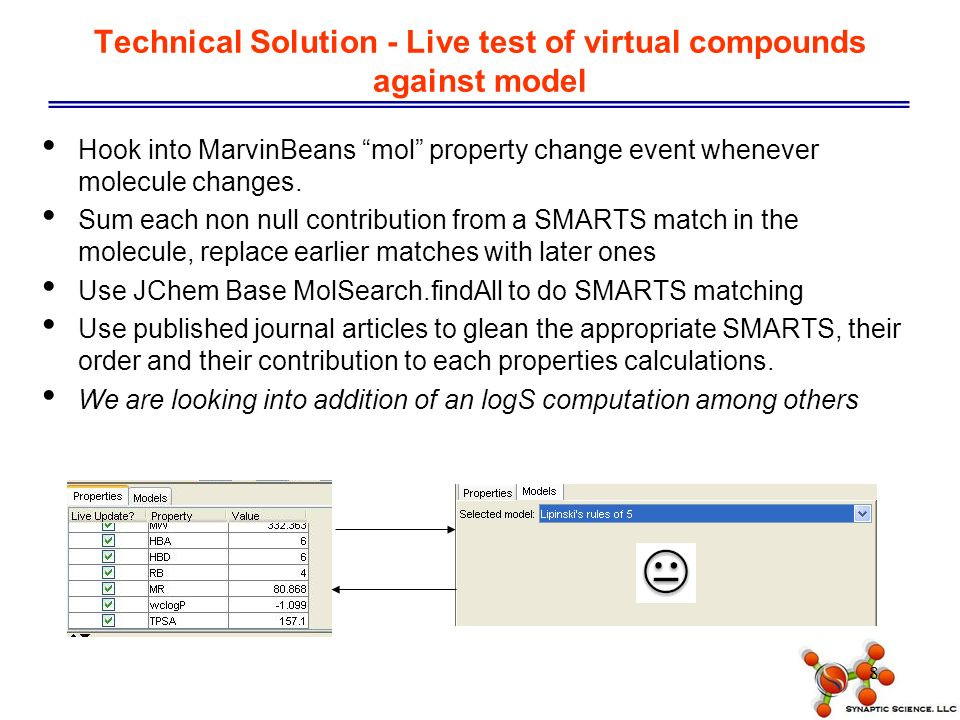 9 Technical Solution - Triage Vendor Compounds 18 vendors were evaluated based upon library size, cost, availability, purity, analytical data and plating options.