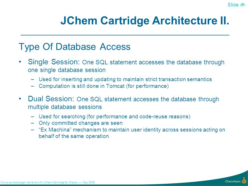 14 Slide 14 Compound storage / retrieval with JChem Cartridge for Oracle May 2005 JChem Cartridge Architecture I.