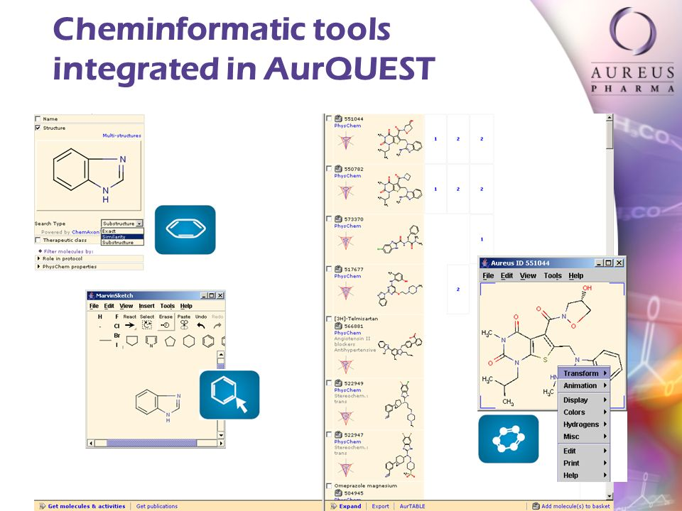 CONFIDENTIAL INFORMATION Cheminformatic tools integrated in AurQUEST