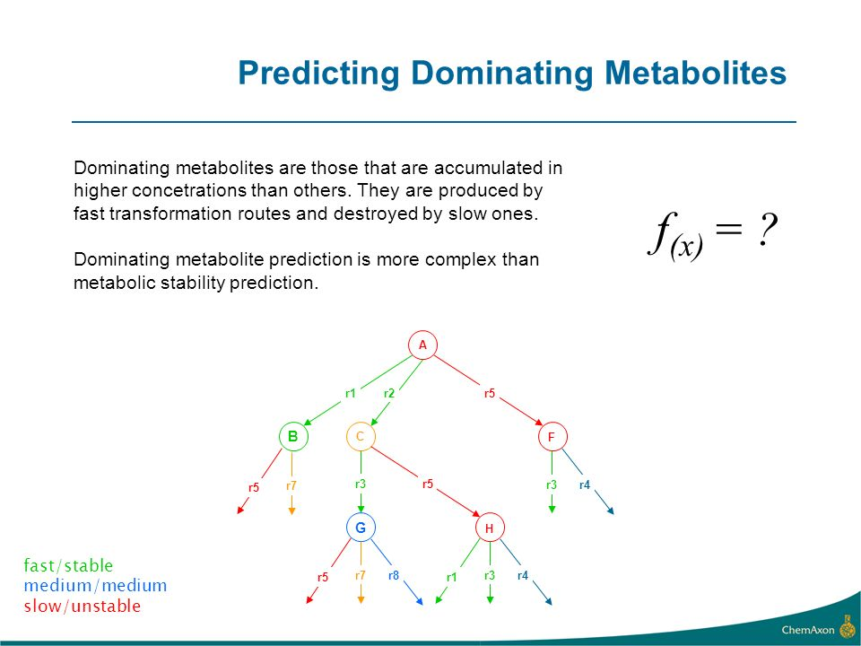 Predicting Dominating Metabolites Dominating metabolites are those that are accumulated in higher concetrations than others. They are produced by fast