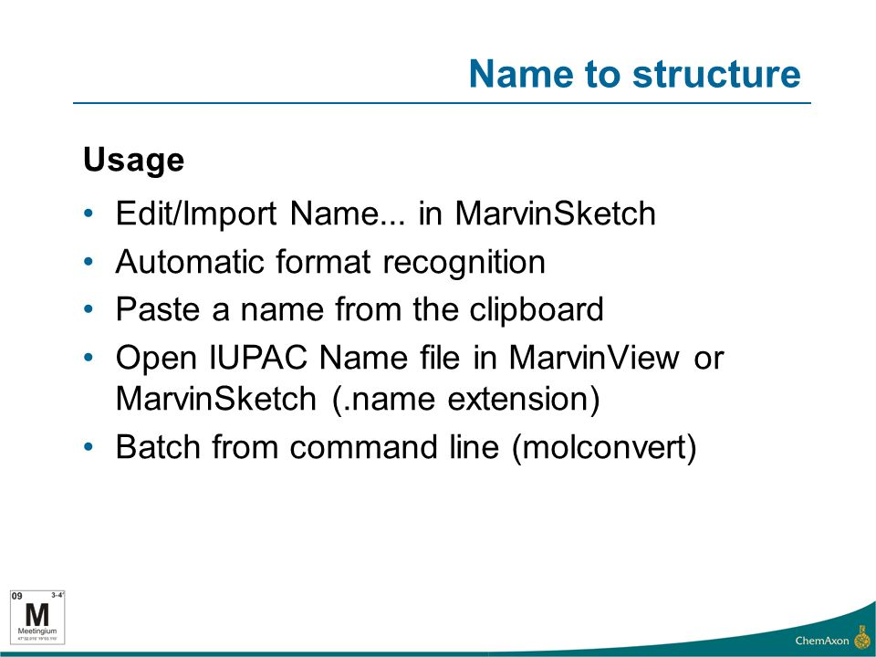 Name to structure Usage Edit/Import Name...