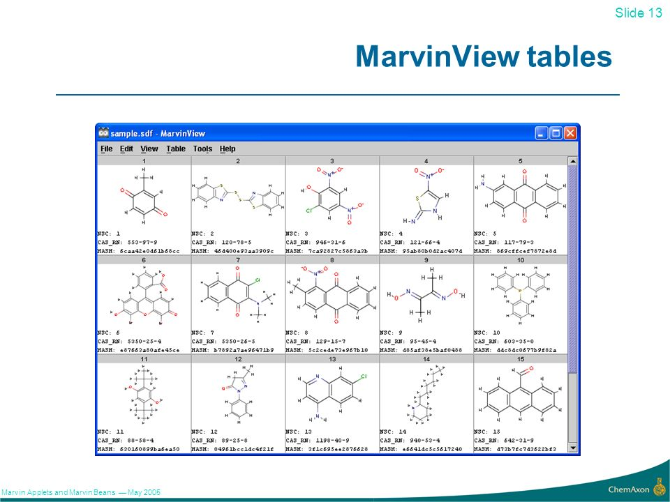 13 Slide 13 Marvin Applets and Marvin Beans May 2005 MarvinView tables