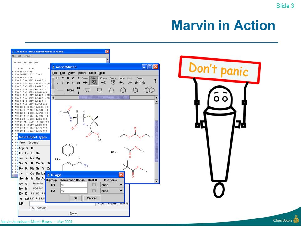 3 Slide 3 Marvin Applets and Marvin Beans May 2005 Marvin in Action
