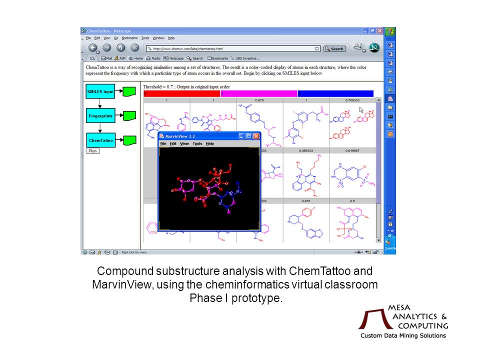 Compound substructure analysis with ChemTattoo and MarvinView, using the cheminformatics virtual classroom Phase I prototype.